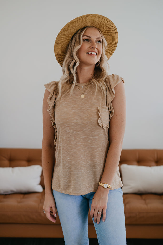 The Clayton Heather Ruffle Top in Taupe, comfortable, short ruffle sleeve, round neck, soft fabric, cute top, women's fashion, Wren & Ivory, Wren and Ivory, heather fabric, beige top, ruffle pocket, Baby Bump Friendly