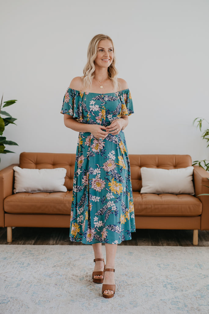The Darla Midi in Jade, short sleeves, off-the-shoulder, fashion, Wren & Ivory, Wren and Ivory, fashion, mauve floral print, smocked back, decorative buttons, ruffle sleeve, midi dress