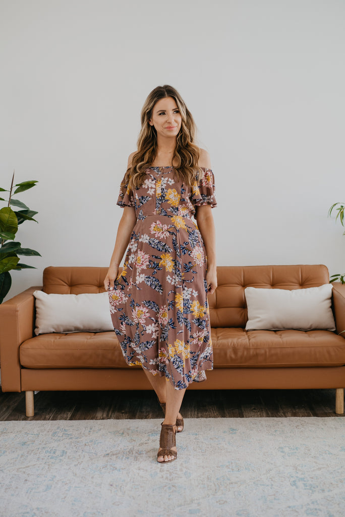 The Darla Midi in Dark Mauve, short sleeves, off-the-shoulder, fashion, Wren & Ivory, Wren and Ivory, mauve floral print, smocked back, decorative buttons, ruffle sleeve