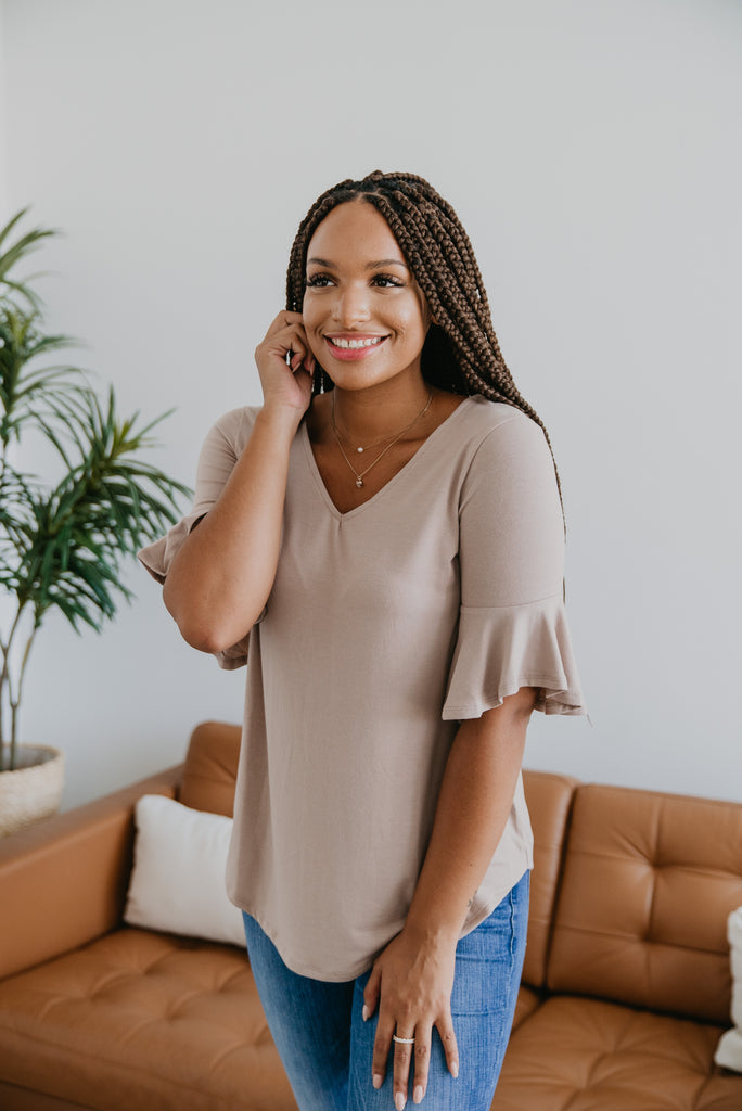 WI Basics: The Davi Flutter Sleeve Top in Iced Mocha, Wren & Ivory Basics, comfortable Tee, stretchy fabric, fashion, Wren & Ivory, Wren and Ivory, short sleeves, ruffle sleeve, v-neck, Baby Bump Friendly, plus sizes, natural top, mocha top