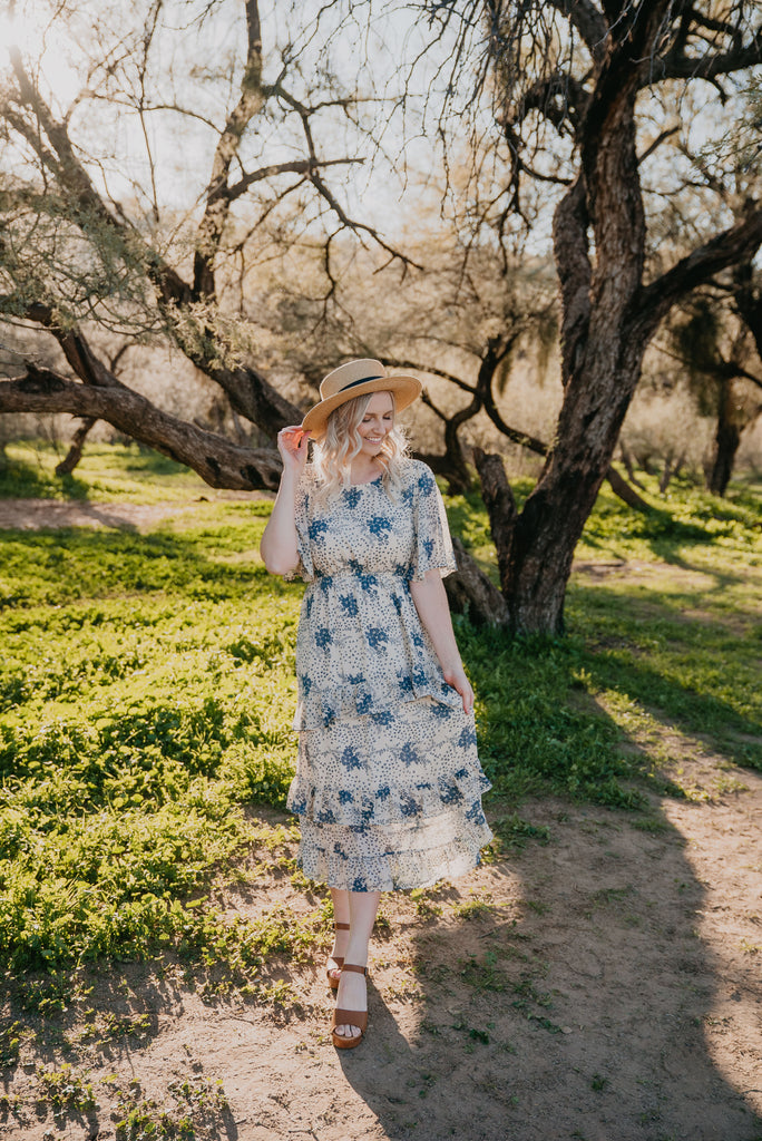 The Edison Floral Dress in Cream