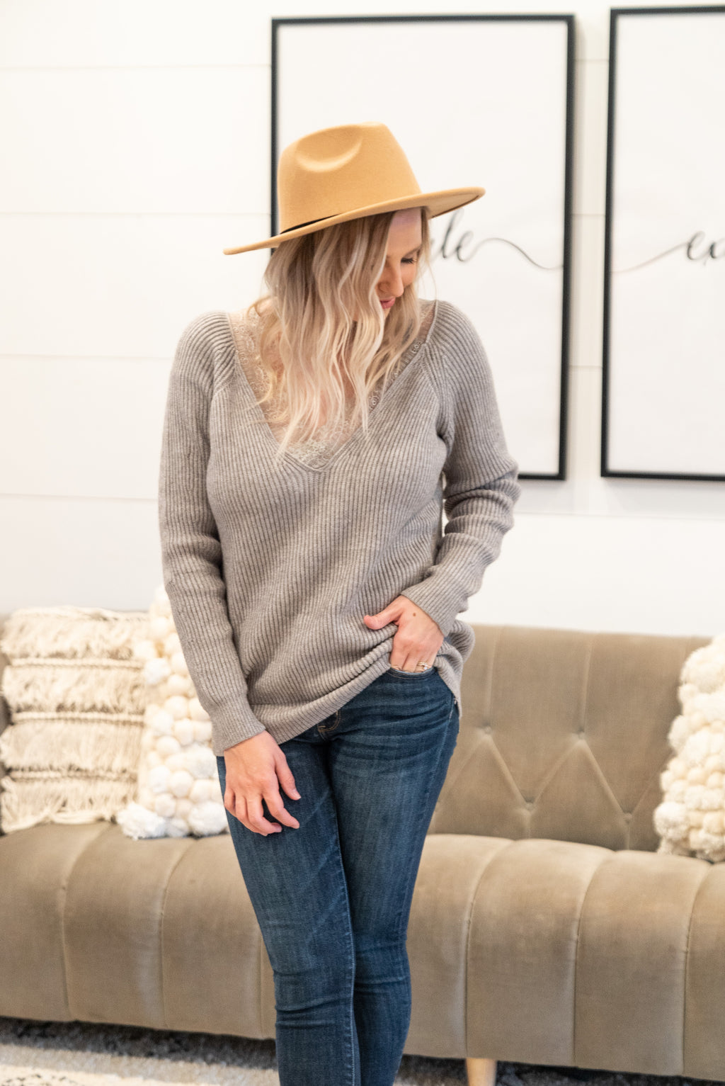The Billie Lace Sweater in Gray