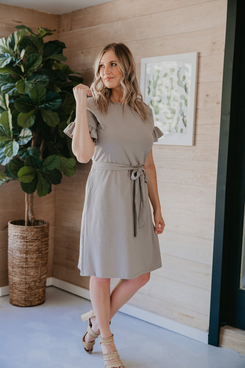 The Conrad Ruffle Dress in Gray