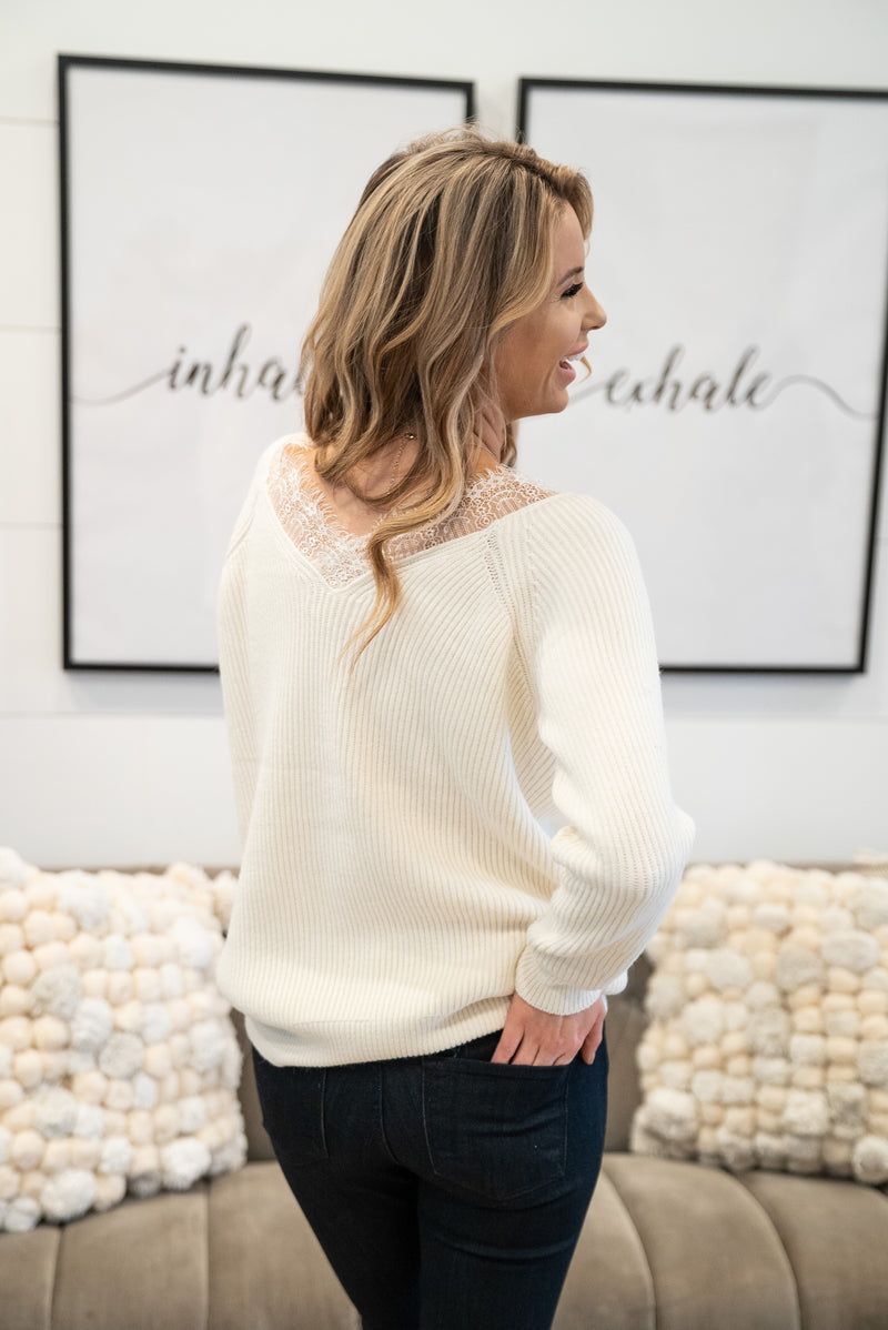 The Billie Lace Sweater in Cream