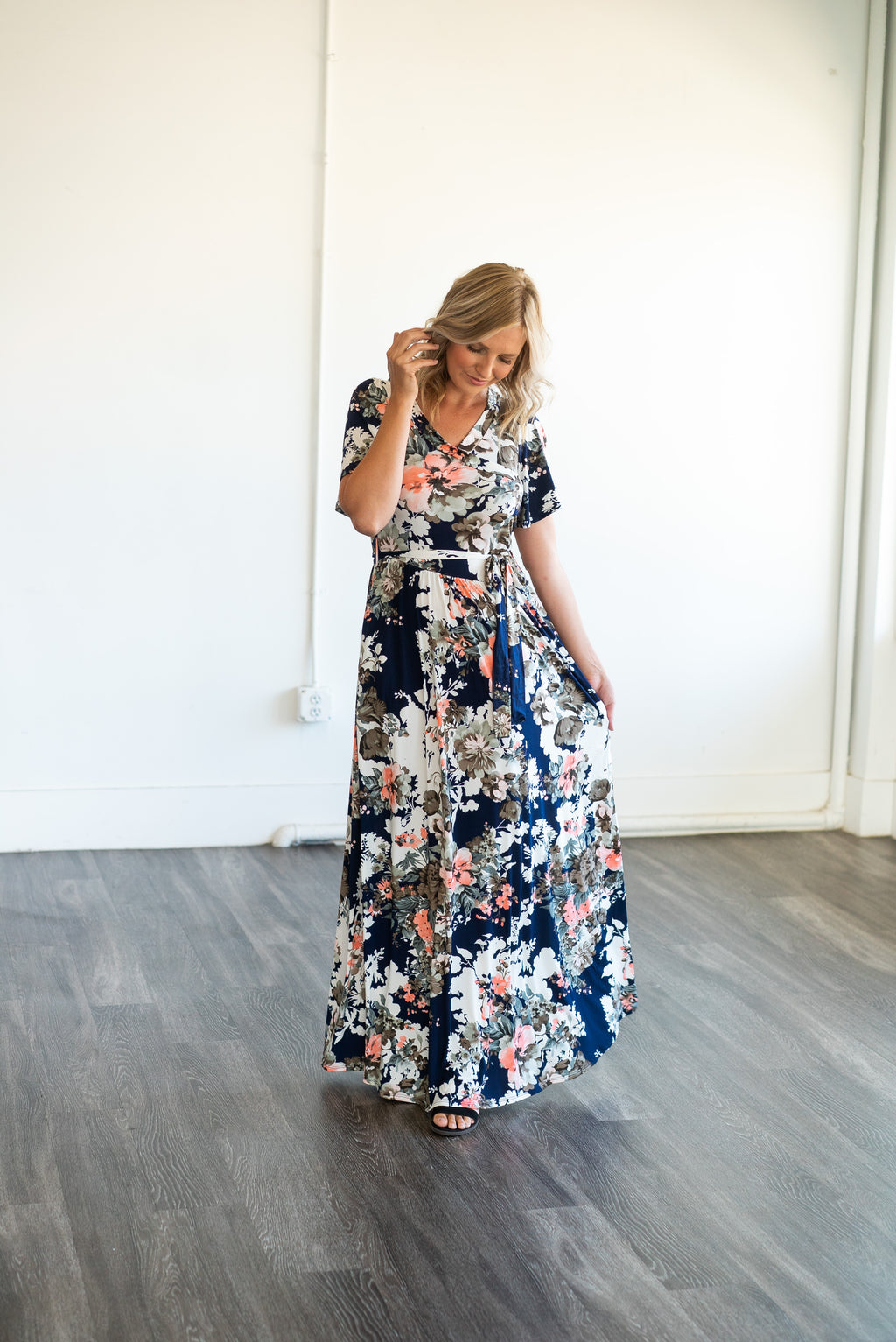 The Daena Bell Sleeve Maxi in Navy