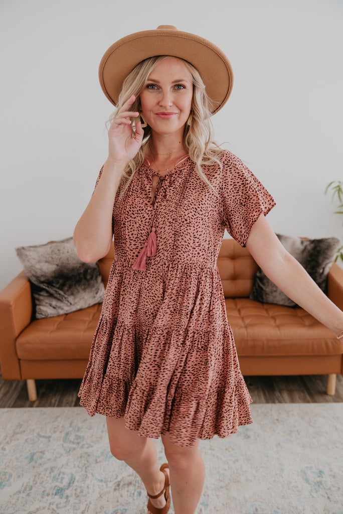 The Sulla Animal Print Mini, light and feminine, mauve short dress with animal print, babydoll dress, short sleeves, A-line tiered dress, women's fashion, Baby Bump Friendly, Wren & Ivory, Wren and Ivory