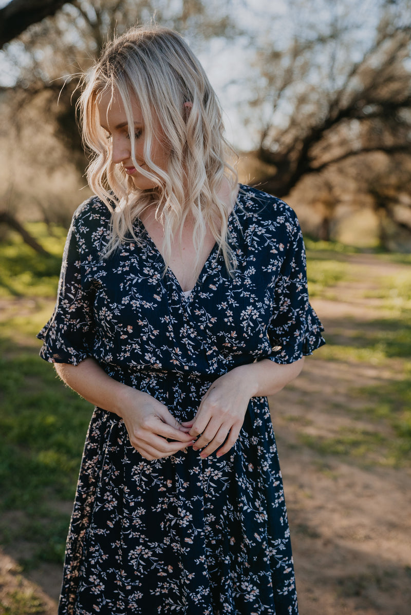 The Navarro Floral Dress in Navy