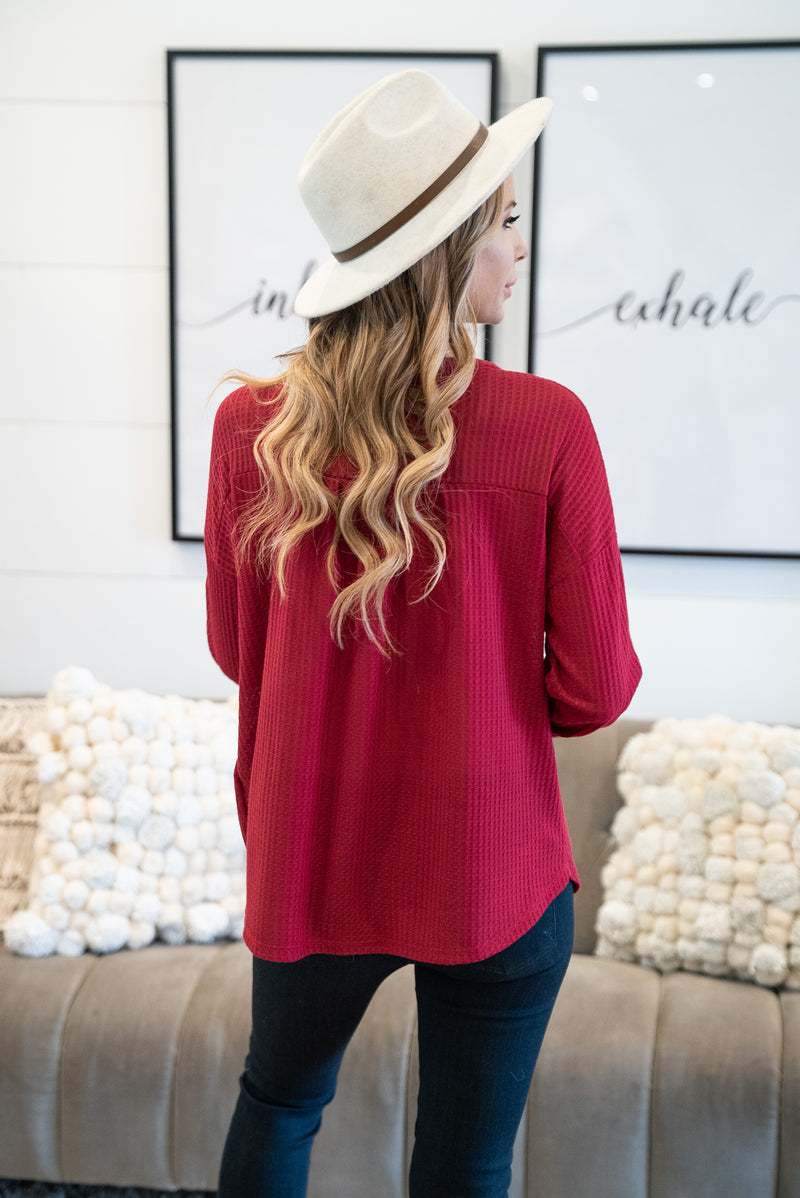 The Errol Waffle Knit Top in Ruby