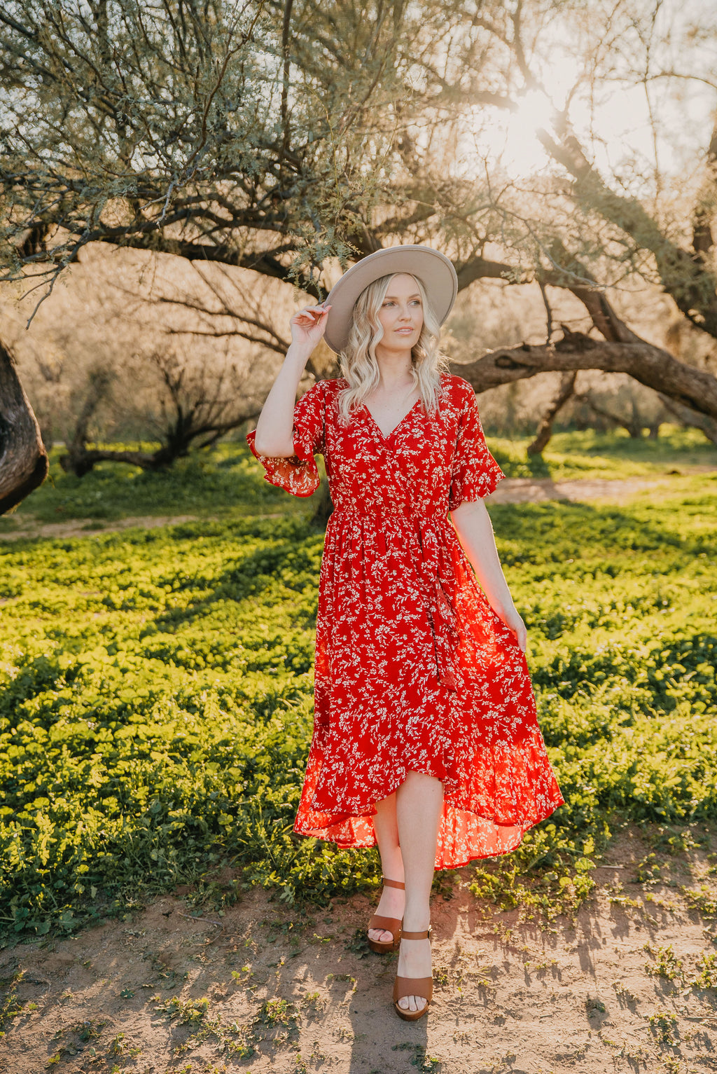 The Navarro Floral Dress in Rust