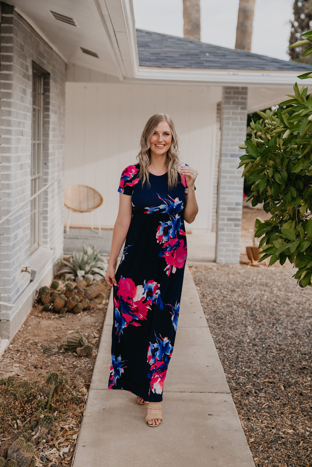 The Ansel Abstract Floral Maxi in Navy