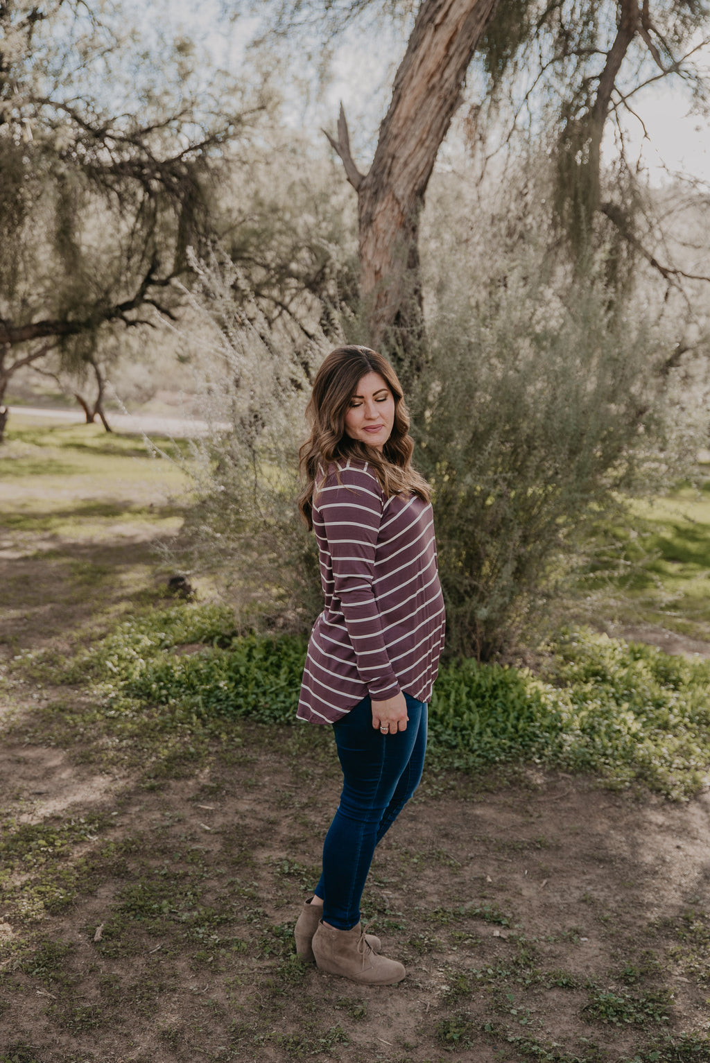 WI Basics: The Shay Striped Top in Eggplant (Sizes S-3X)