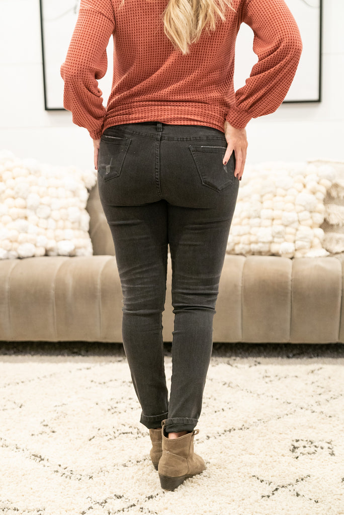 The Allie Maternity Jeans in Distressed Black
