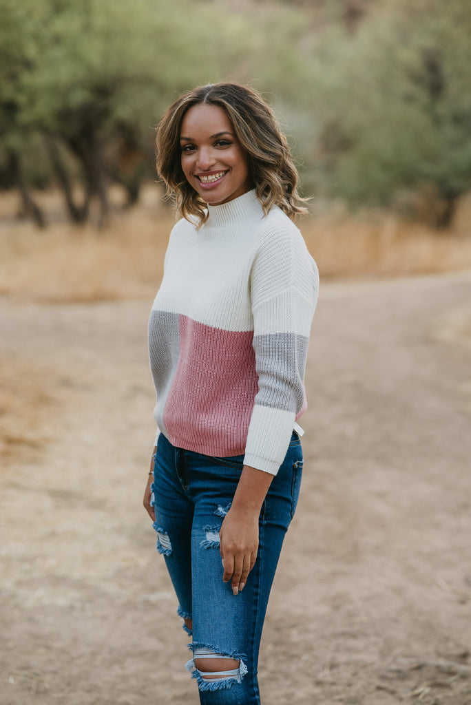 The Cora Color Block Sweater (Sizes S -3X)