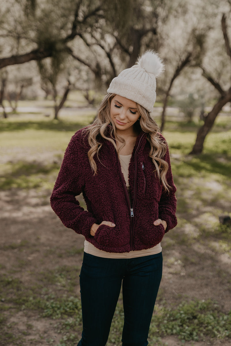 The Bethel Teddy Jacket in Merlot
