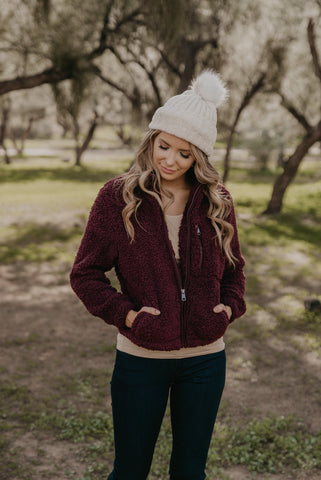 The Freya Solid Sweater in Cranberry