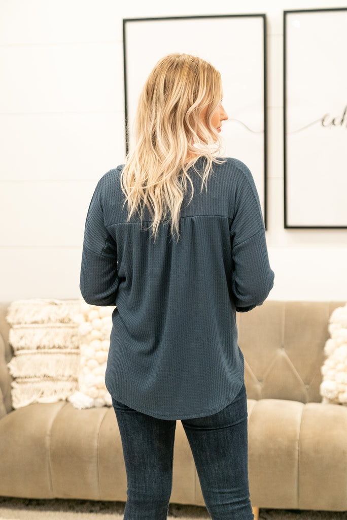 The Errol Waffle Knit Top in Slate Blue