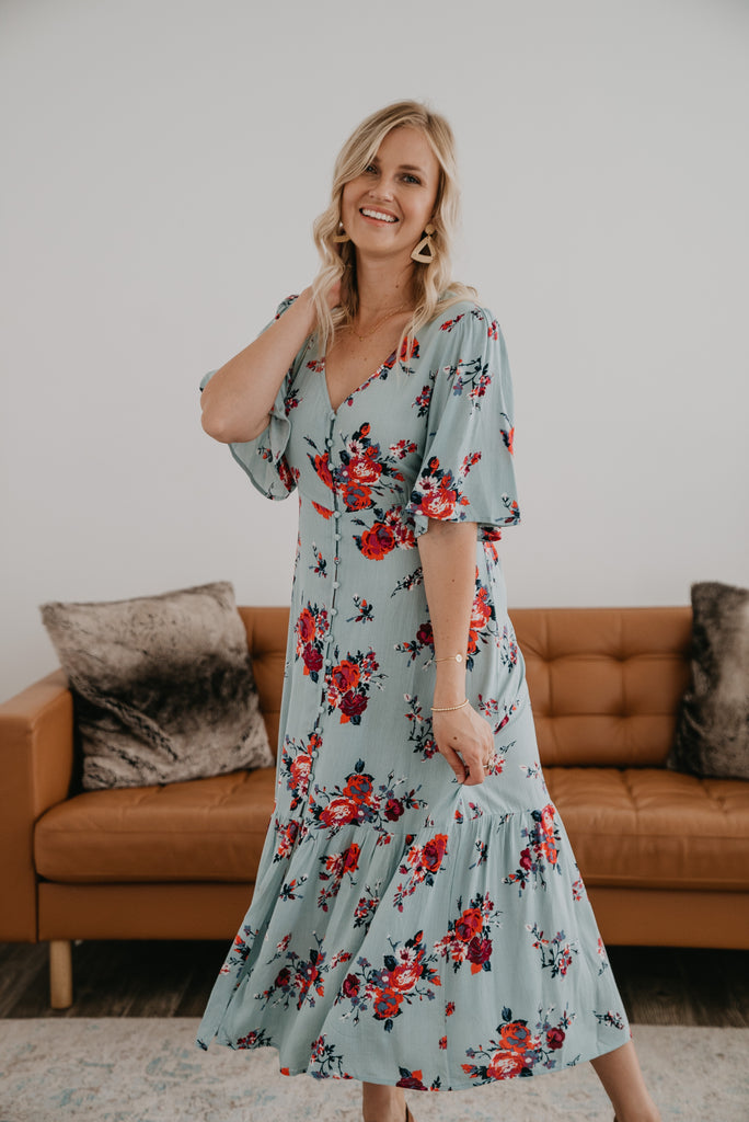 The Dierdra Floral Maxi in Blue Sage, maxi dress, Baby Bump Friendly, Nursing Friendly, light dress, blue sage floral, belt tie waist, fashion, functional buttons down the front, Wren & Ivory, Wren and Ivory, summer dress, flutter short sleeves