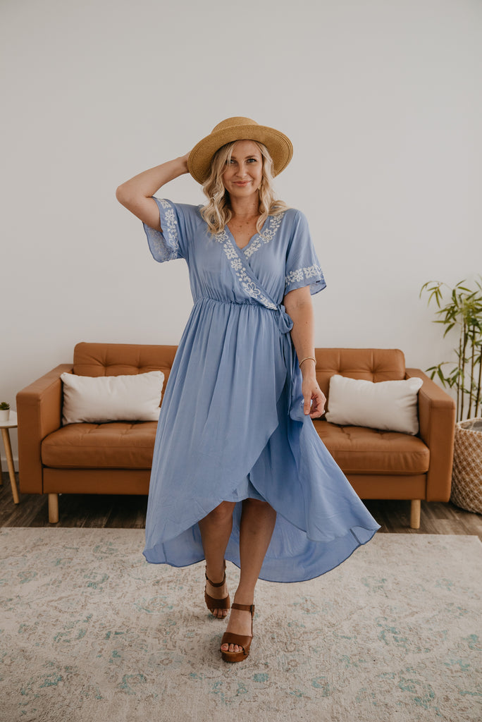 The Adenna Embroidered Midi in Sky Blue, Dresses, Baby Bump Friendly, Nursing Friendly, embroidery, midi, elastic waist, bridesmaid, modest, Wren & Ivory, Wren and Ivory, powder blue, hi-low, beautiful dress
