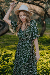 The Navarro Floral Dress in Olive