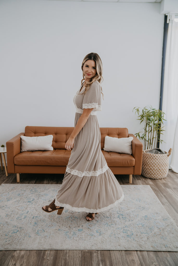 The Serifima Lace Trim Maxi in Natural, maxi dress, tiered dress, Baby Bump Friendly, lined, wide sleeves, fashion, Wren & Ivory, Wren and Ivory, all season dress, lace insets, lace trim dress