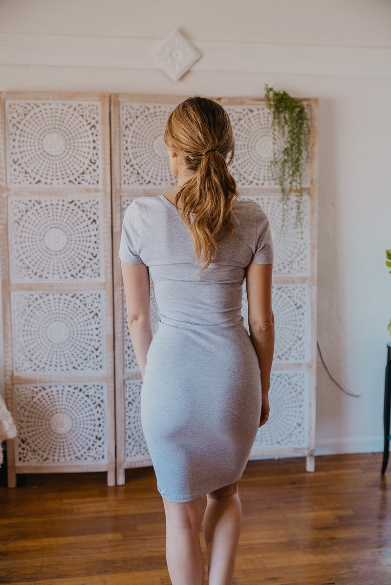 WI Basics: The Myra Bodycon Midi in Heather Gray