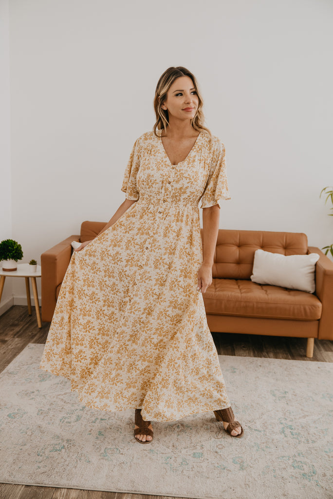 The Bashini Maxi in Mustard Floral, Dresses, Baby Bump Friendly, Nursing Friendly, maxi, smocked elastic waist, mustard floral print, modest, Wren & Ivory, Wren and Ivory, flowy dress