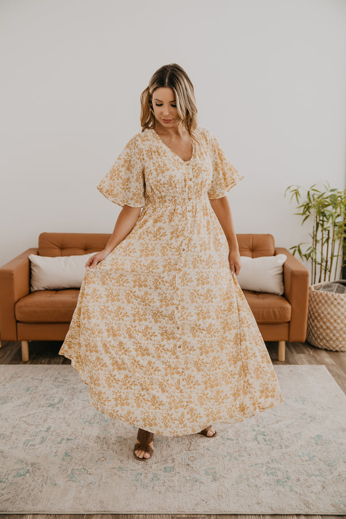 Dresses, Baby Bump Friendly, Nursing Friendly, maxi, smocked elastic waist, mustard floral print, modest, Wren & Ivory, Wren and Ivory, flowy dress