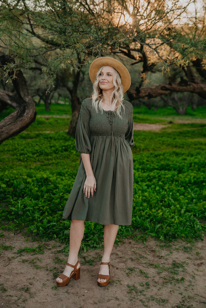 The Meridian Smocked Dress in Olive