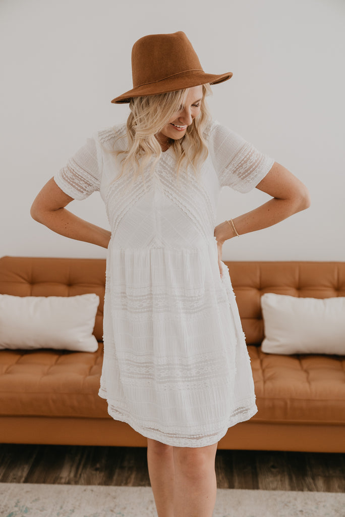 The Peretti Lace Dress in Ivory, short dress, all over lace dress, Baby Bump Friendly, lined, short sleeves, fashion, Wren & Ivory, Wren and Ivory, all season dress, ivory dress