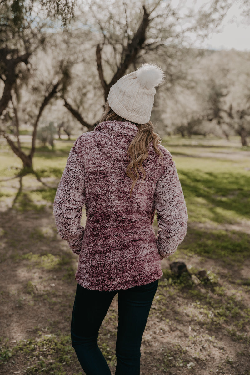 WI Basics: The Thea Sherpa Pullover in Burgundy (Sizes S-3X)