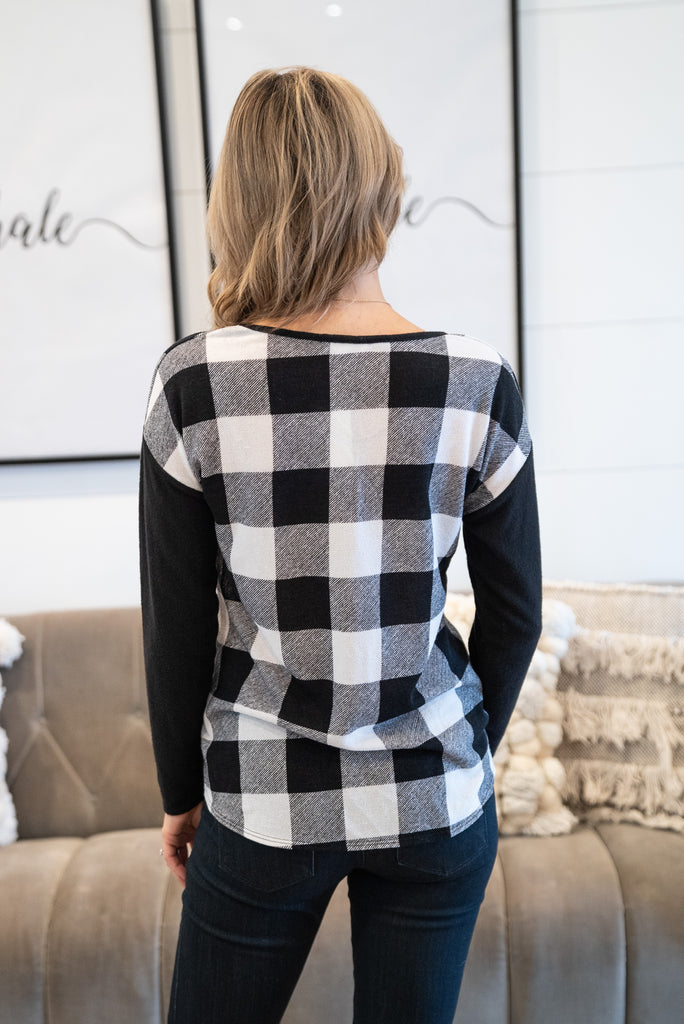 The Clarke Buffalo Plaid Top in Black & White