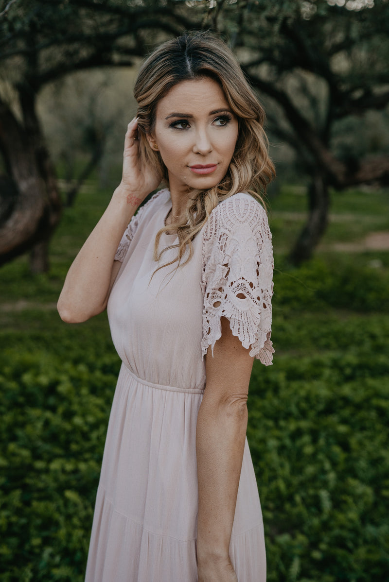 The Sansa Lace Sleeve Maxi in Soft Blush (Sizes S-2X)