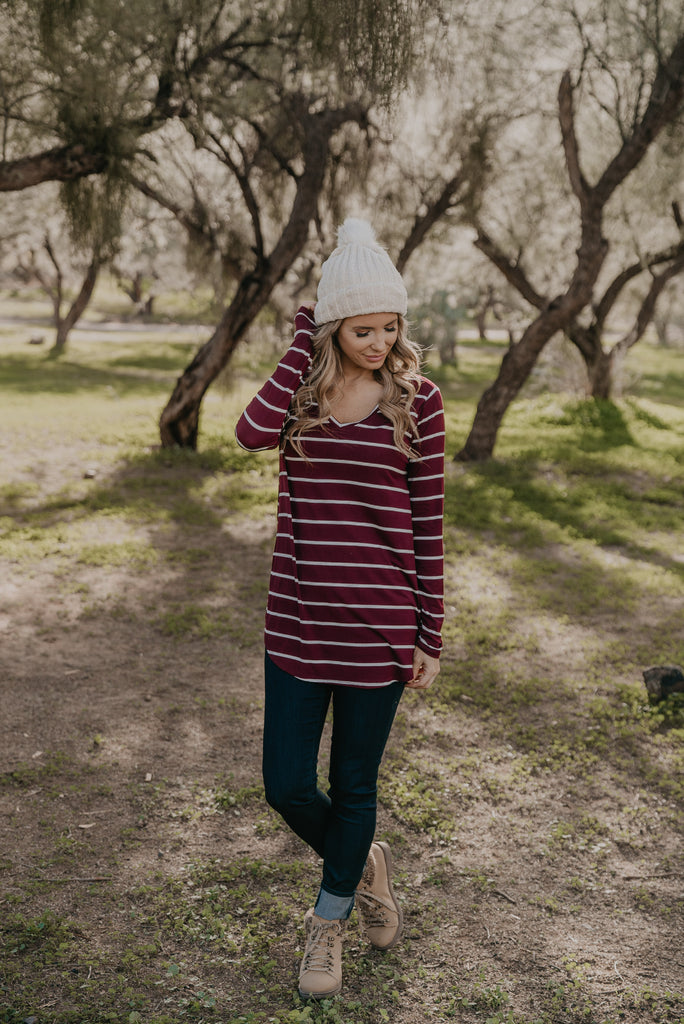 WI Basics: The Shay Striped Top in Wine (Sizes S-3X)