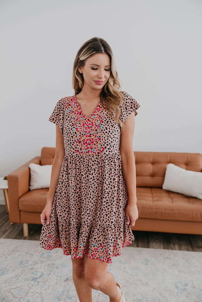 The Gabell Animal Print Mini (Sizes S-3X),  Dress, Baby Bump Friendly, Summer Dress, Women's Fashion, Maternity, Animal Print Dresses, Leopard Print, Cheetah Print, Embroidered, Mauve, Mocha, Mini Dress, Summer Dress