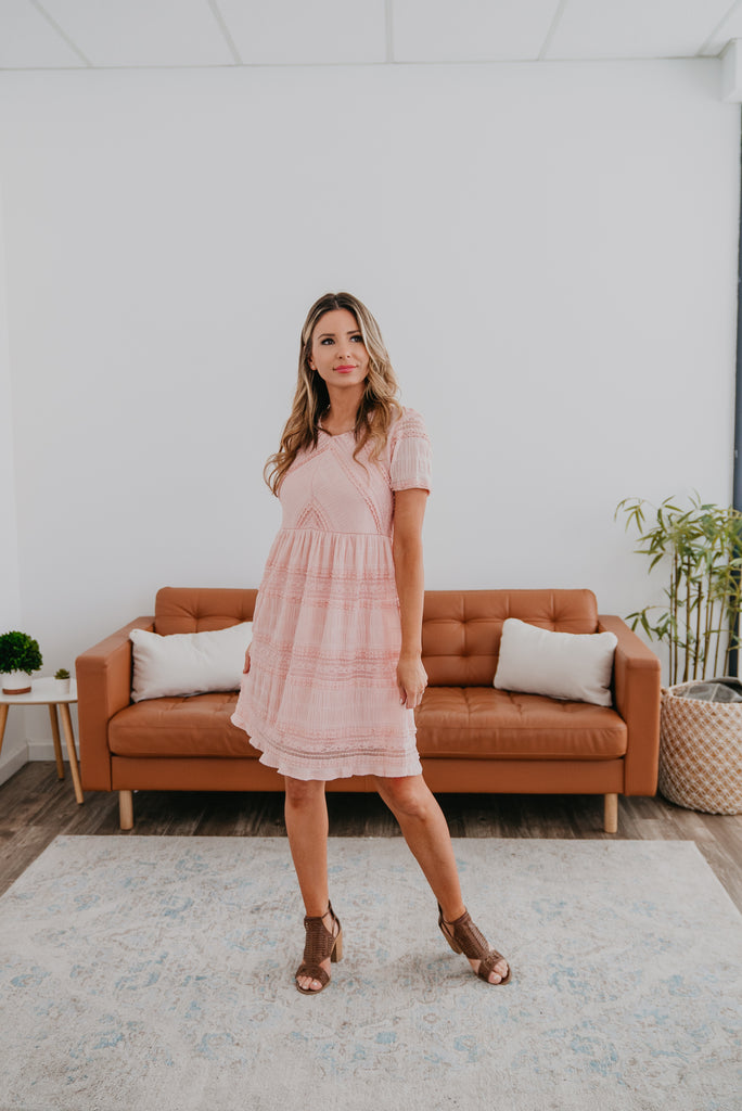 The Peretti Lace Dress in Blush, short dress, all over lace dress, Baby Bump Friendly, lined, short sleeves, fashion, Wren & Ivory, Wren and Ivory, all season dress, blush pink dress