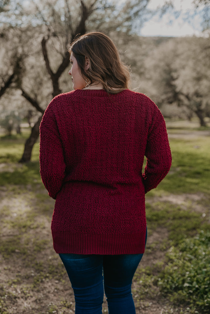 WI Basics: The Orya V-Neck Sweater in Ruby (Sizes S-3X)