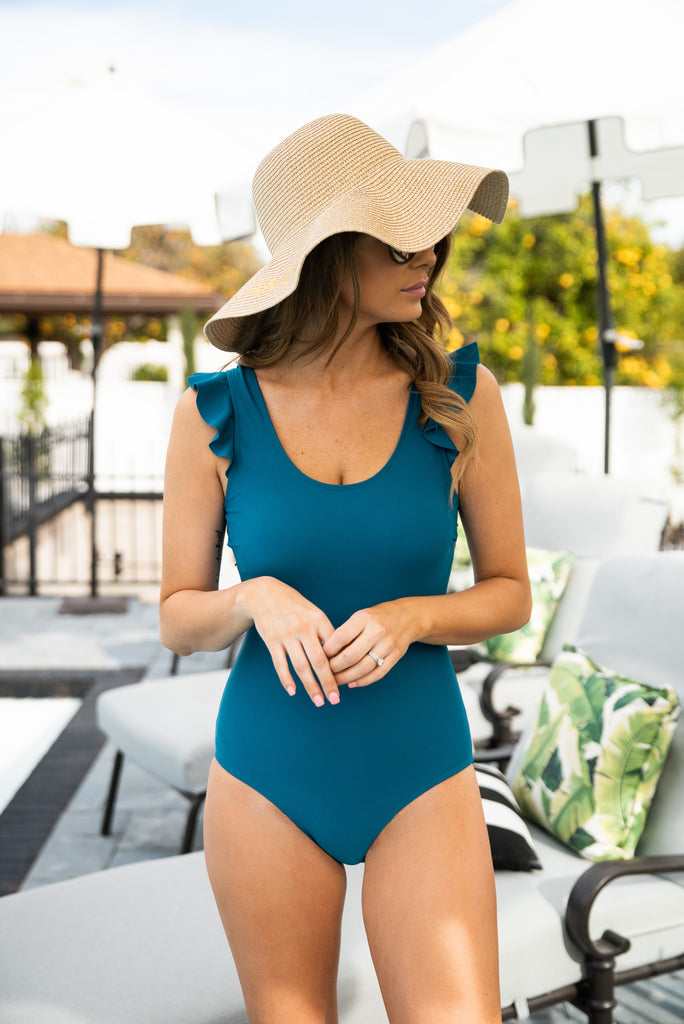 The St. Lucia Solid Ruffle Swimsuit in Teal (Sizes S-3X)