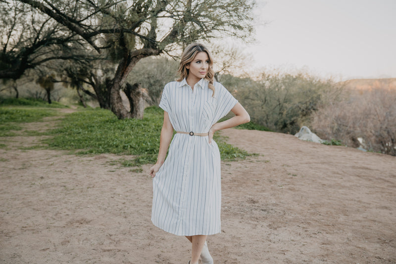 The Morgan Striped Button Midi in Ivory