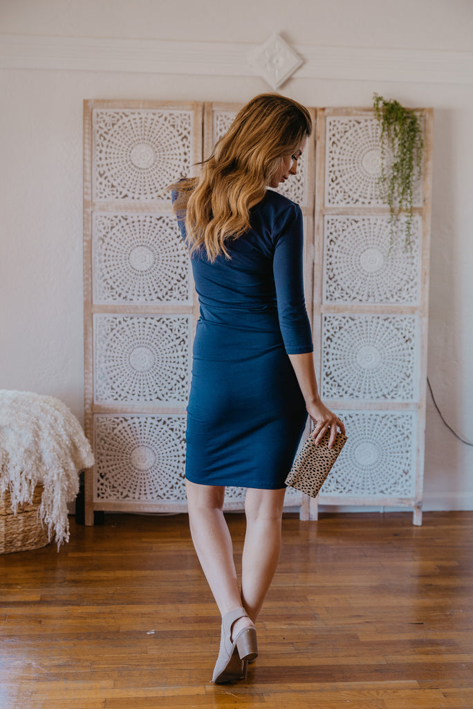 WI Basics: The Demi Bodycon Midi in Navy