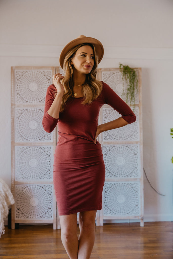 WI Basics: The Demi Bodycon Midi in Fired Brick