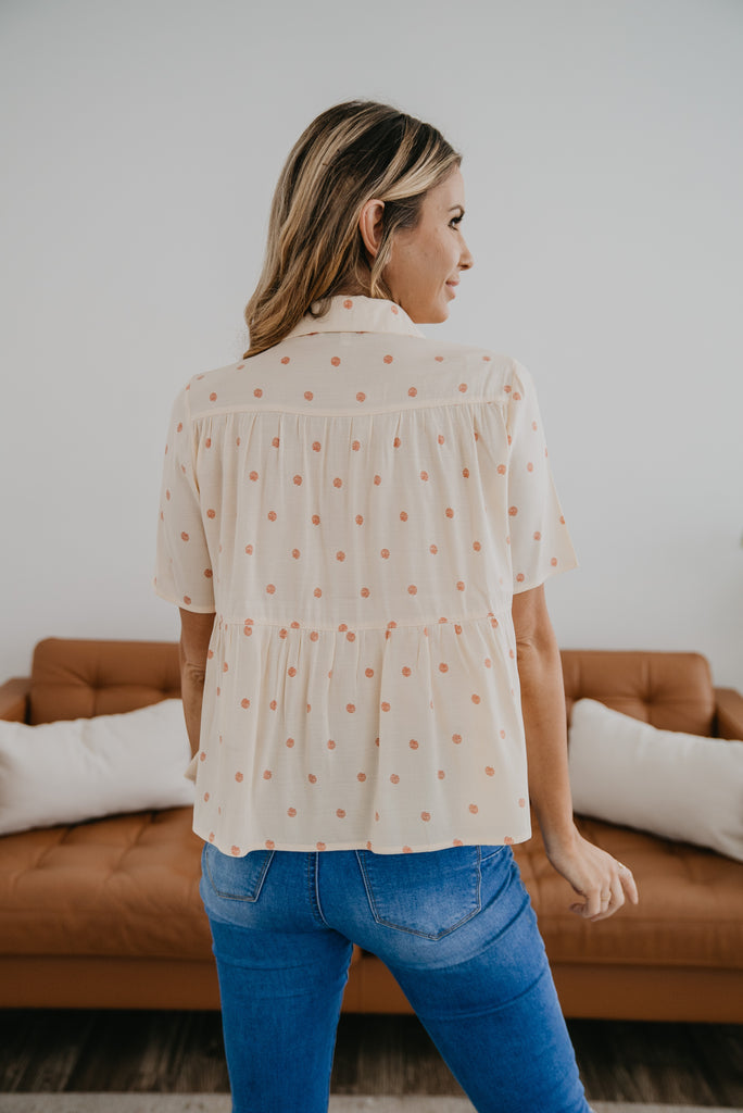 The Luella Polka Dot Top, short sleeve, shiring, button down top, cute top, women's fashion, Wren & Ivory, Wren and Ivory, smocked, polka dot