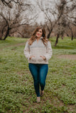 The Brooklyn Color Block Pullover in Gray (Sizes 1X-3X)