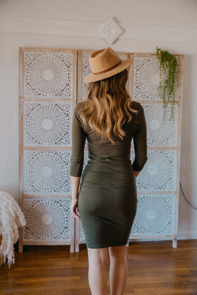 WI Basics: The Demi Bodycon Midi in Army Green