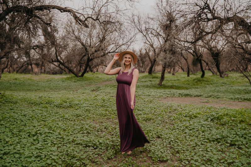 WI Basics: The Kiri Sleeveless Maxi in Eggplant