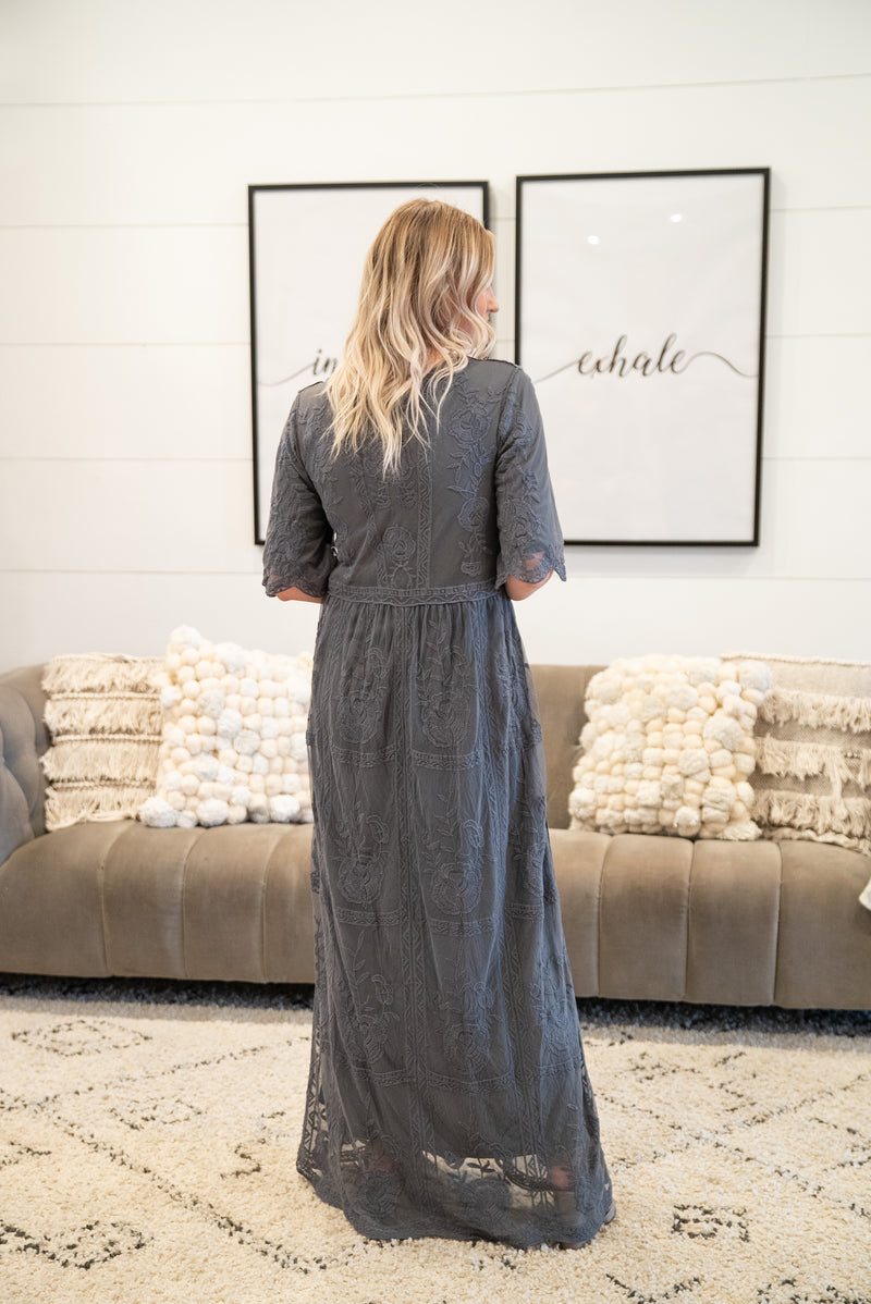The Ophelia Lace Gown in Charcoal