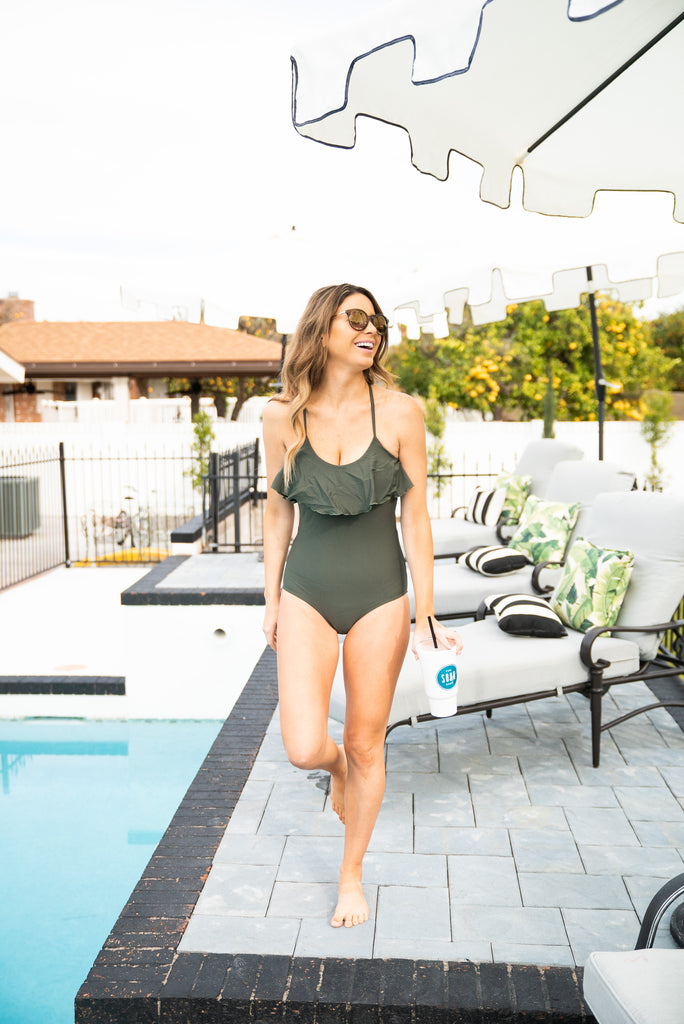 The Kilauea Solid Ruffle Swimsuit in Olive