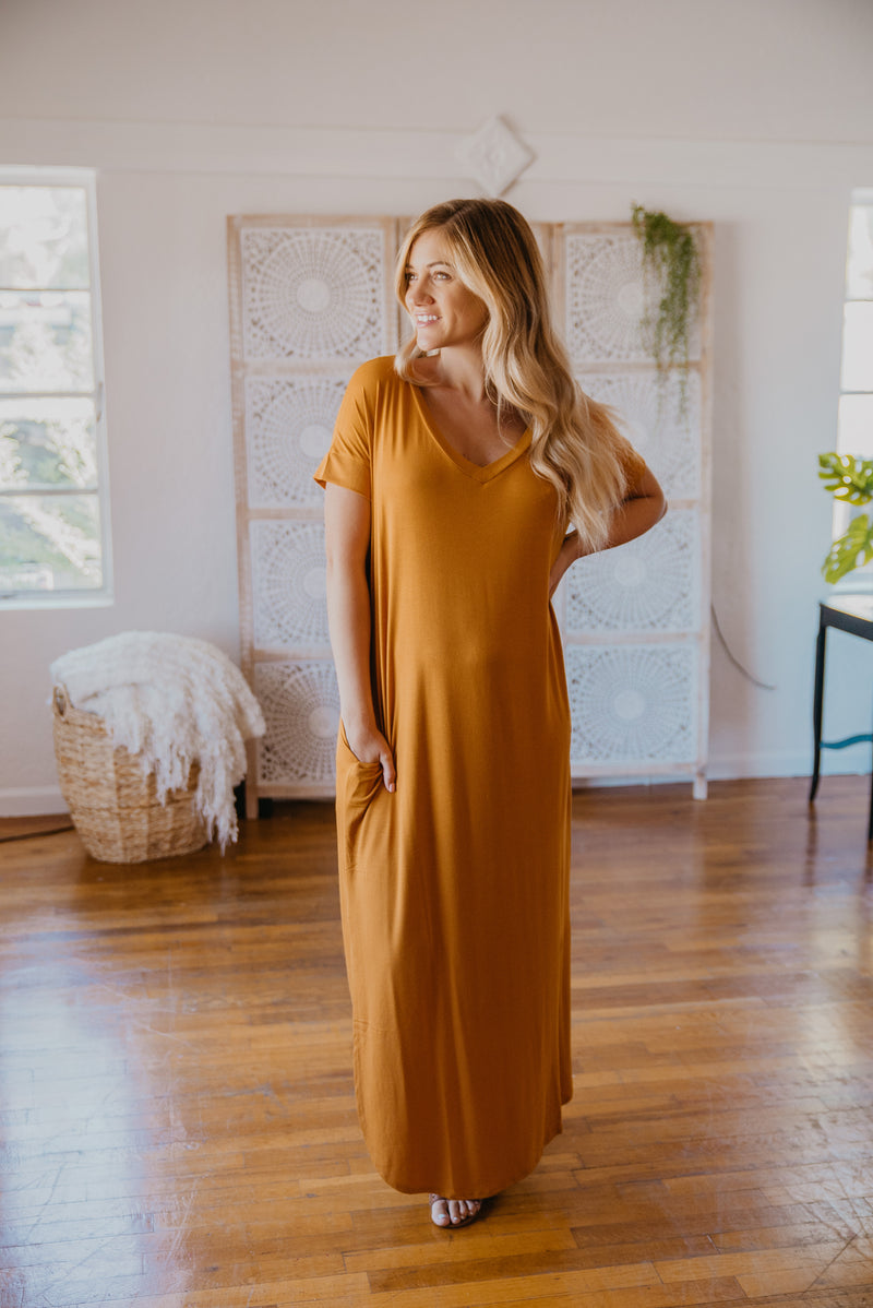WI Basics: The Tess Solid Maxi in Mustard (Sizes S-3X)