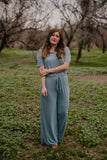 WI Basics: The Andi Jumpsuit in Dusty Blue (Sizes S-3X)