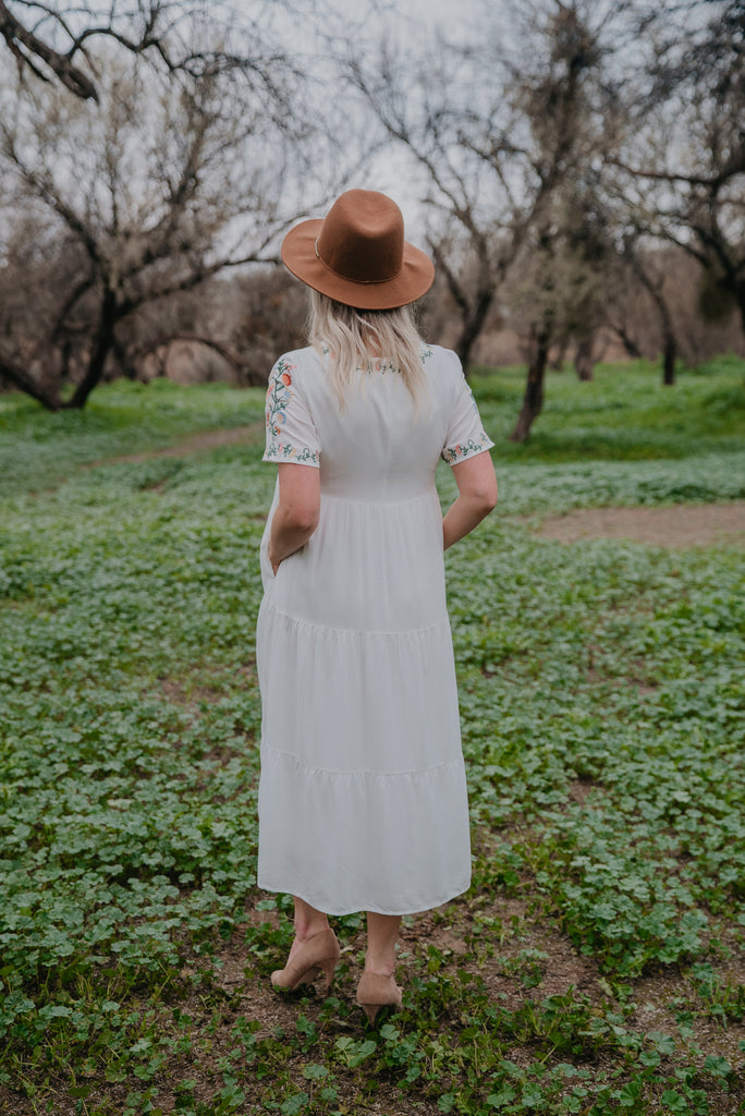 The Beau Embroidered Dress in Ivory