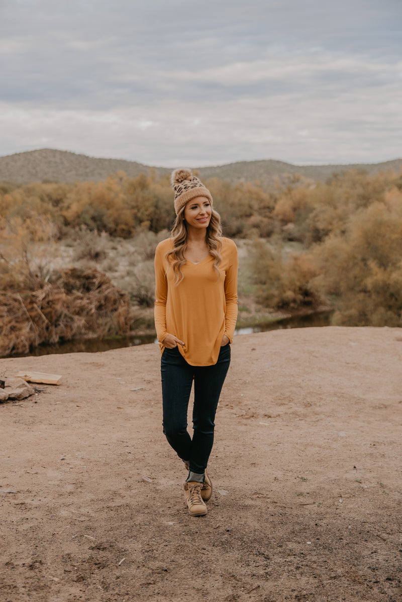 WI Basics: The Trey Long Sleeve Top in Mustard (Sizes S-3X)